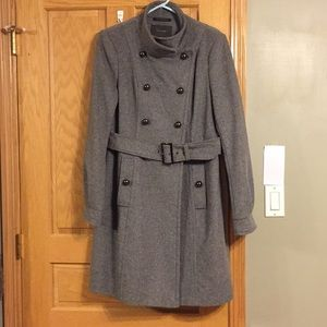 Tahari wool blend long pea coat w/belt
